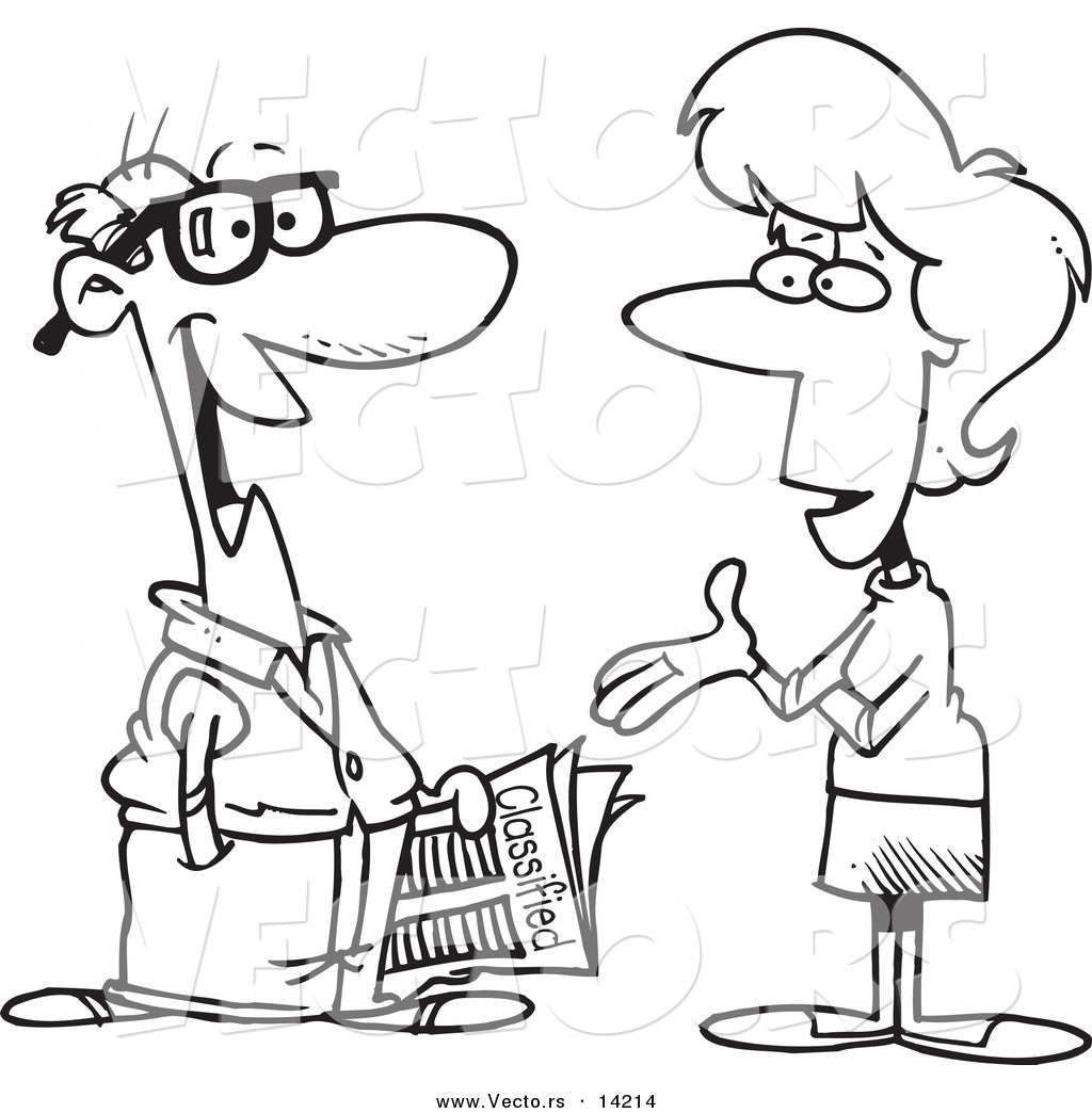 Vector Of A Cartoon Woman Talking To A Man About