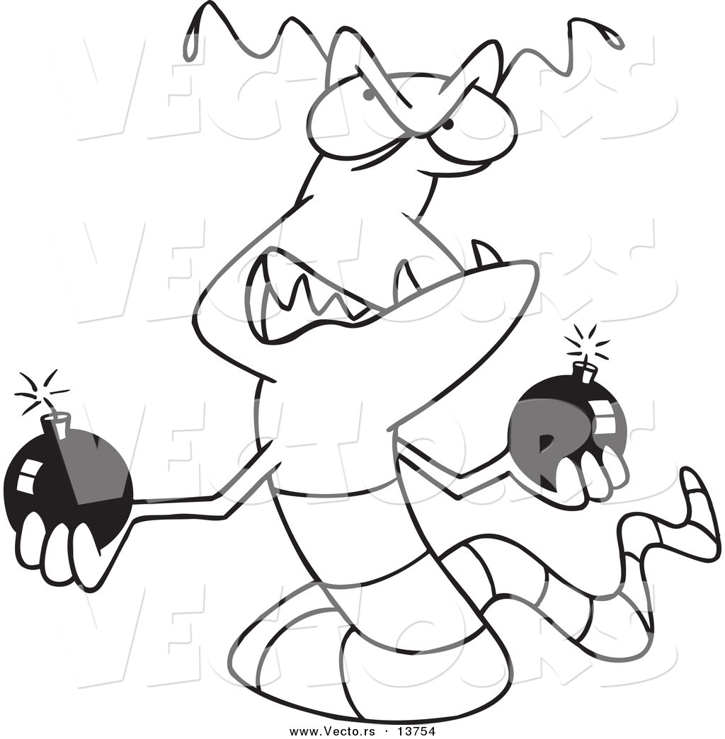 Vector Of A Cartoon Worm Virus Holdings