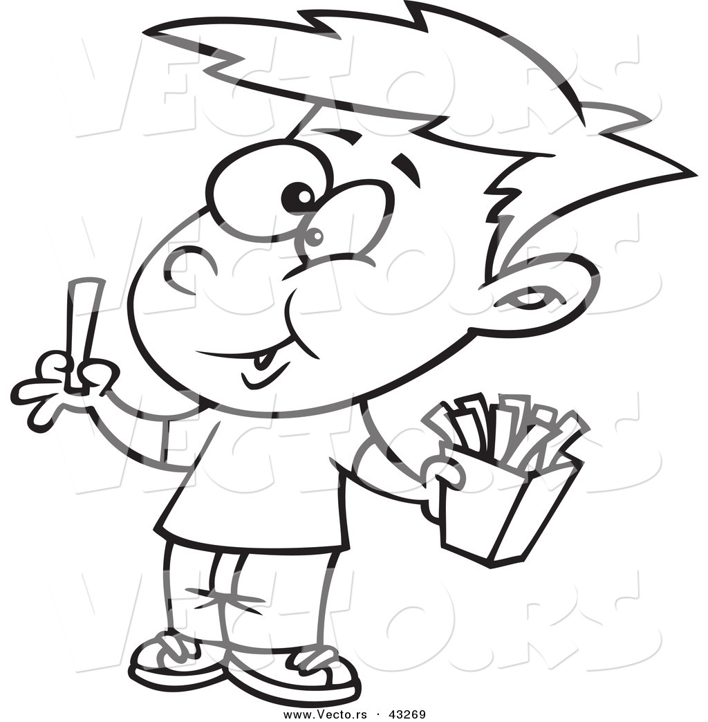 Larger Preview Vector Of A Happy Cartoon Boy Eating