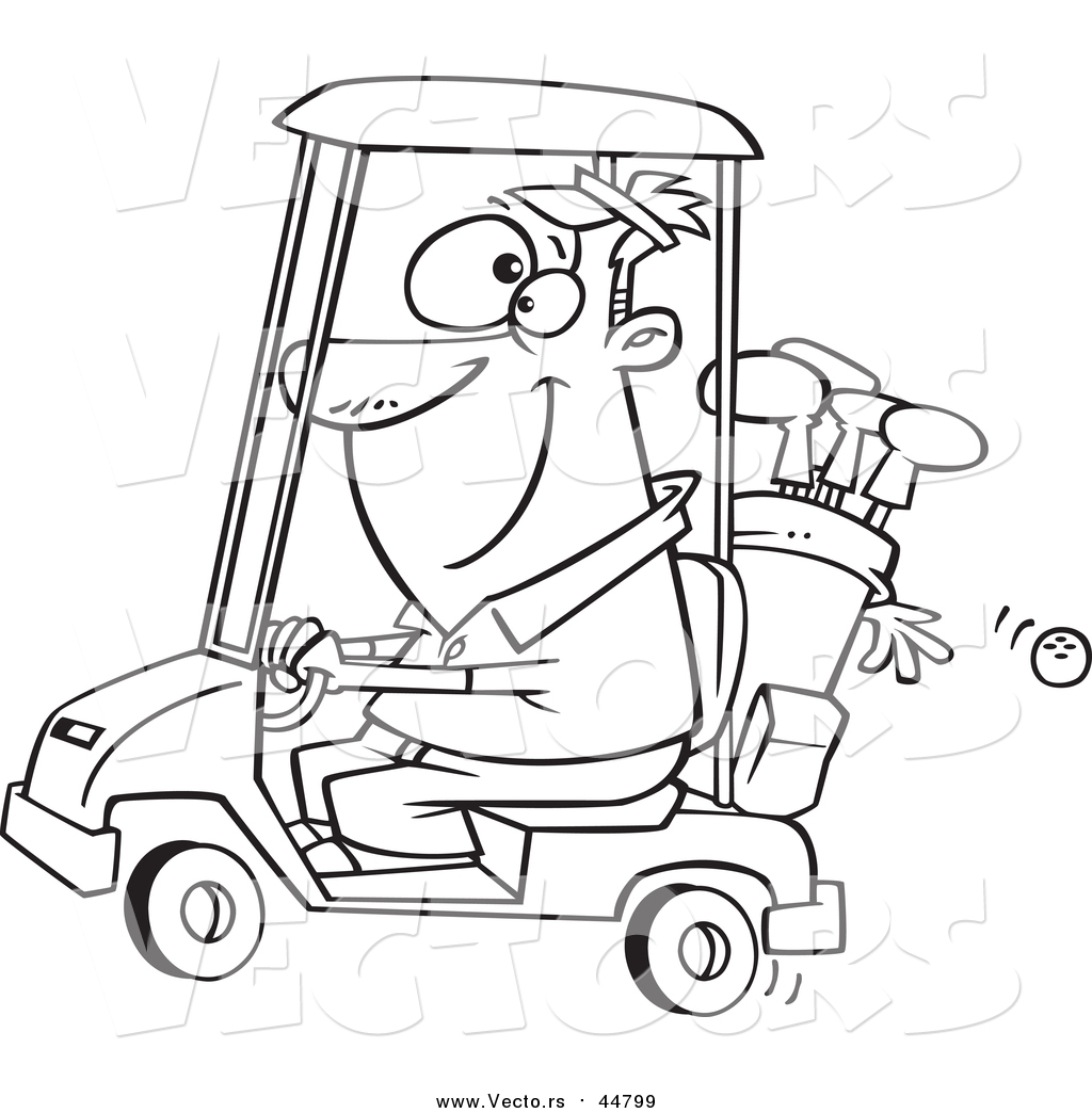 Vector Of A Lineart Happy Man Driving A Golf Cart By