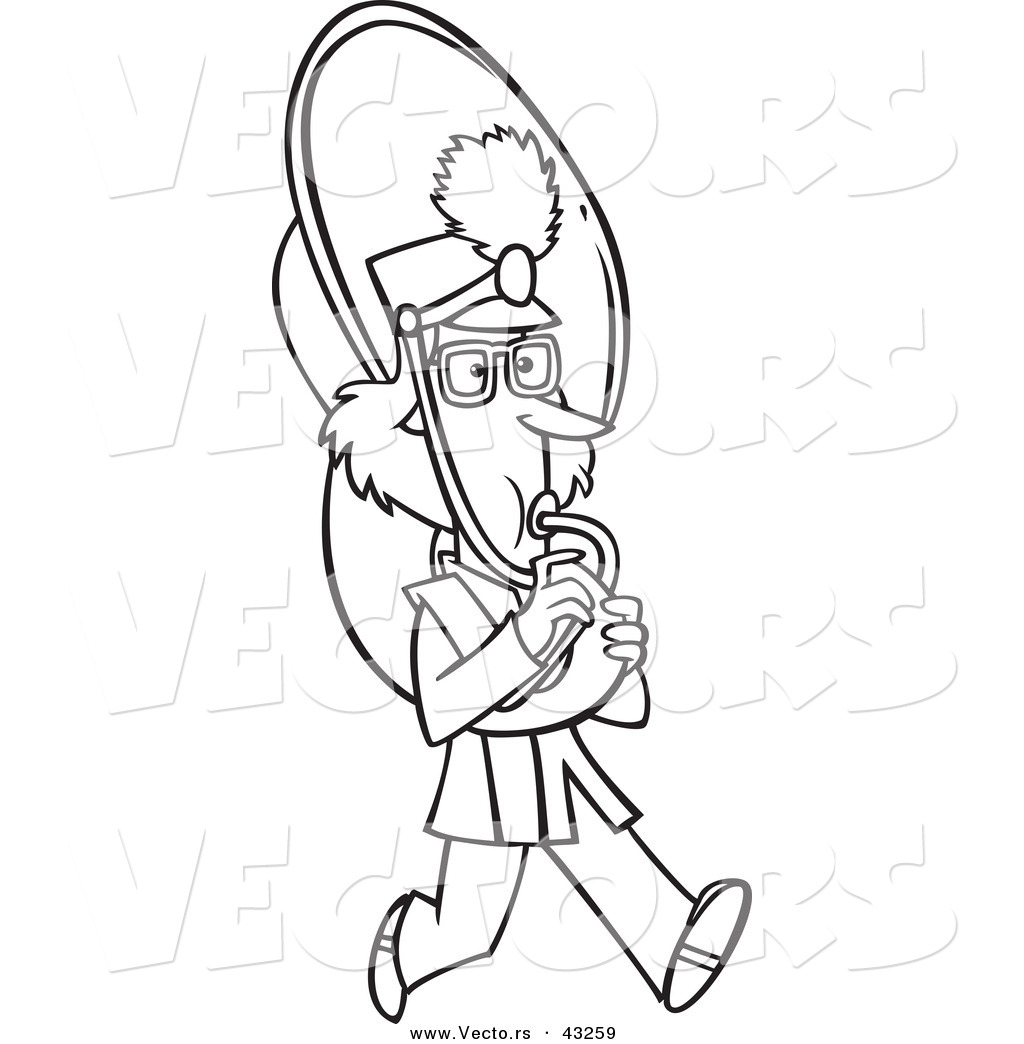 Vector Of A Marching Cartoon Girl Playing A Tuba