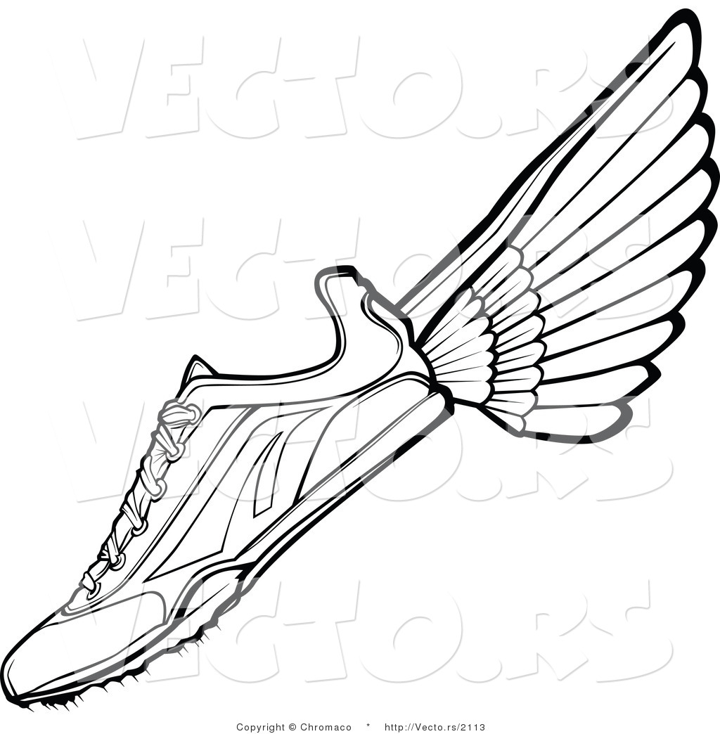 vector of a with wings black and white line drawing by