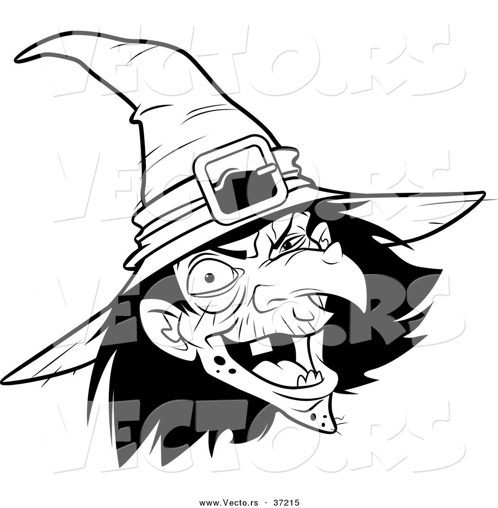 Vector Of A Scary Witch Laughing