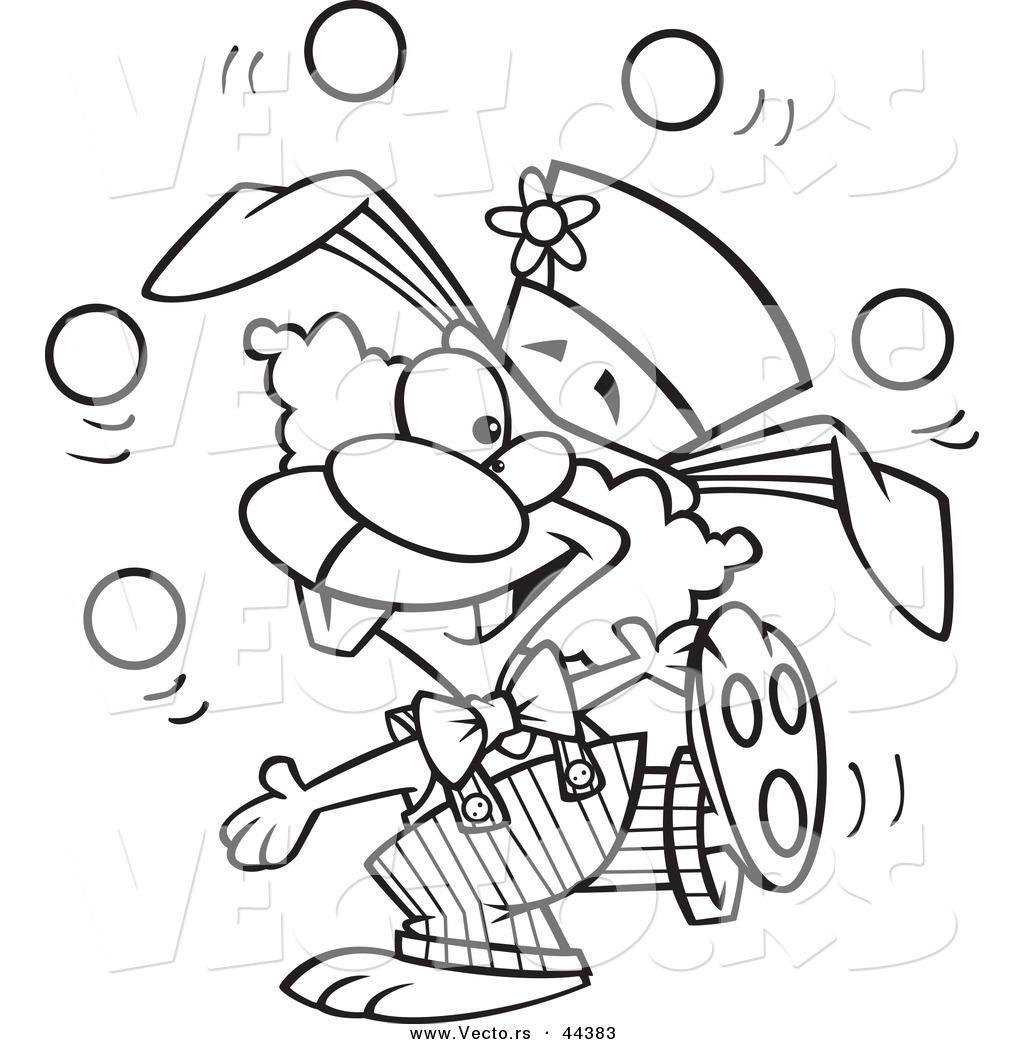 Vector Of A Talented Cartoon Bunny Clown Juggling