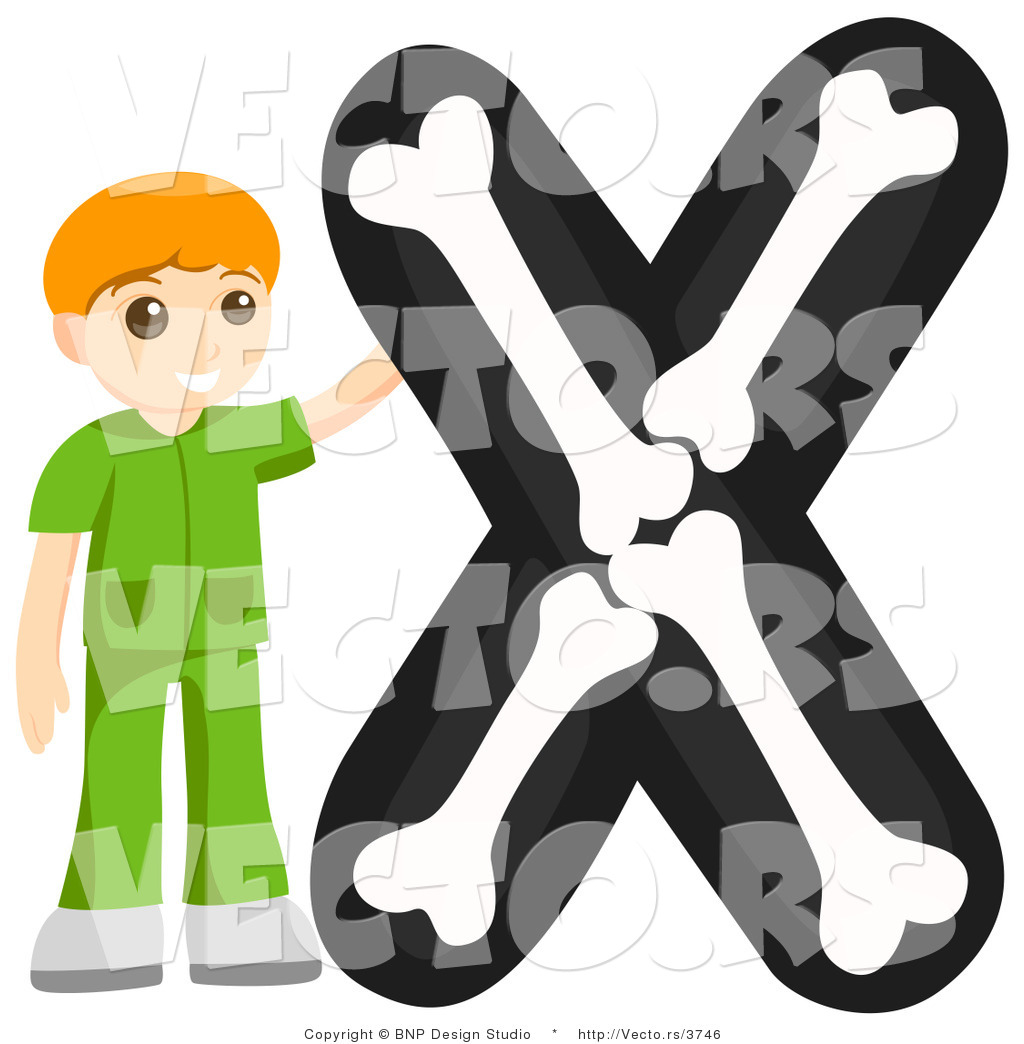 Vector Of Alphabet Letter X With An X Ray Texchnician Boy