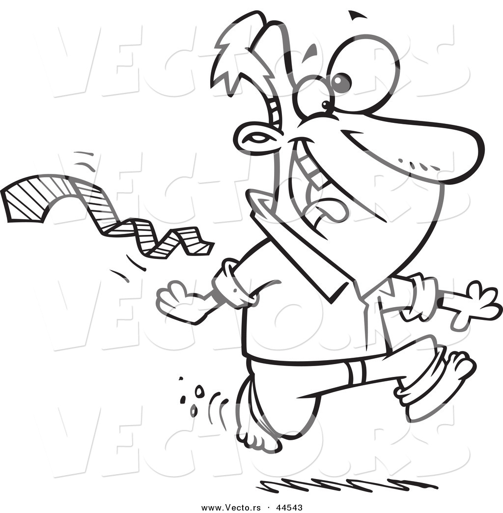 Vector Of An Excited Cartoon Man Ripping His Tie Off And