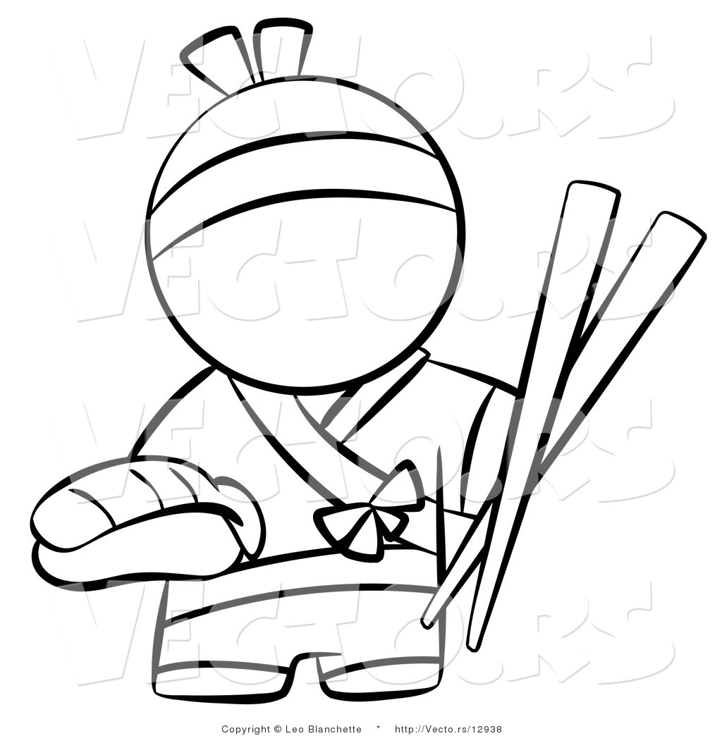 Vector Of Japanese Chef With Chopsticks And Sushi