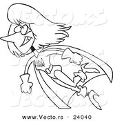 vector of a cartoon super mom flying coloring page outline by ron