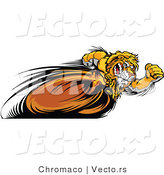 vector of a competitive cartoon lion mascot running fast in a race by