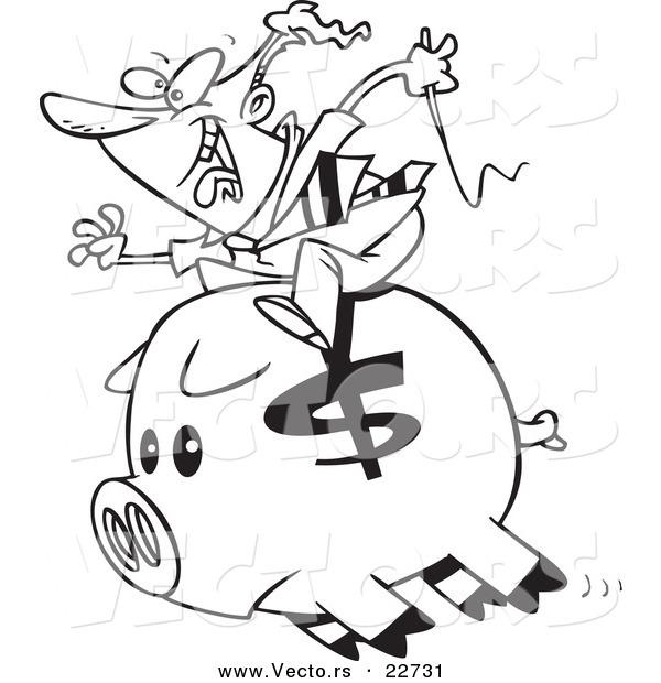 vector of a cartoon businessman riding a piggy bank coloring