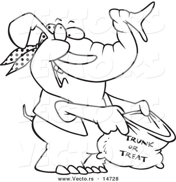 trunk or treat bag coloring page outline by ron leishman 14728