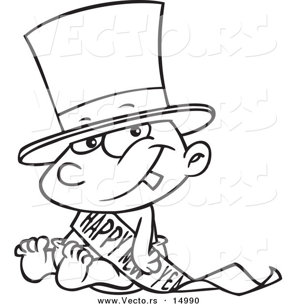 vector of a cartoon new years baby sitting coloring page outline by