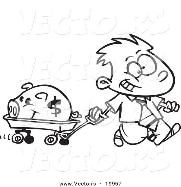 vector of a cartoon rich boy pulling his piggy bank in a wagon