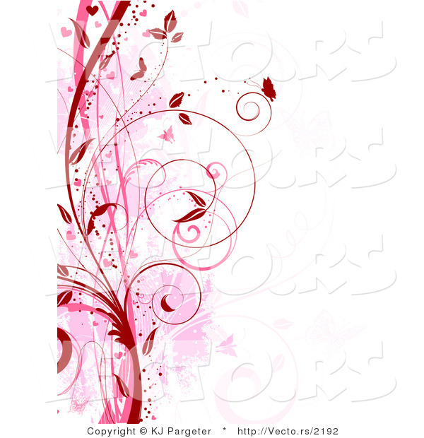 vector of red and pink floral grunge vines with butterflies digital