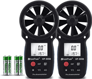two battery powered Anemometers