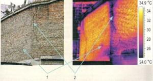 Тепловой контроль газоходов: 1 - внутренняя трещина; 2 - присос воздуха через трещину в кирпичной кладке (разрушение теплоизоляции внутри газохода)