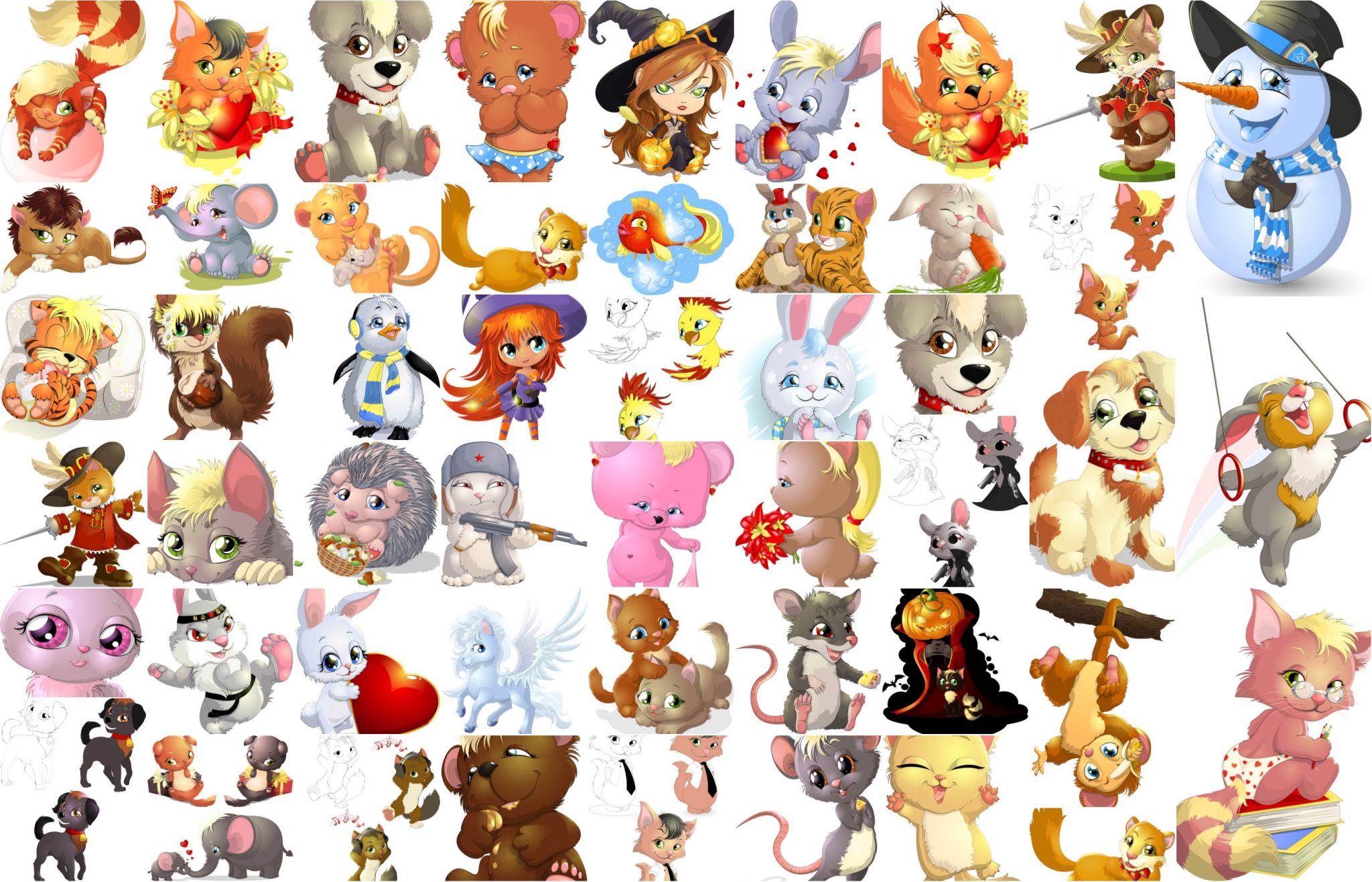 Very Beautiful Cartoon Cute Animals Big Pack Vector Free Download Vectorpicfree Free Ai Eps