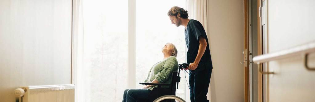 Senior Care Worker and Resident