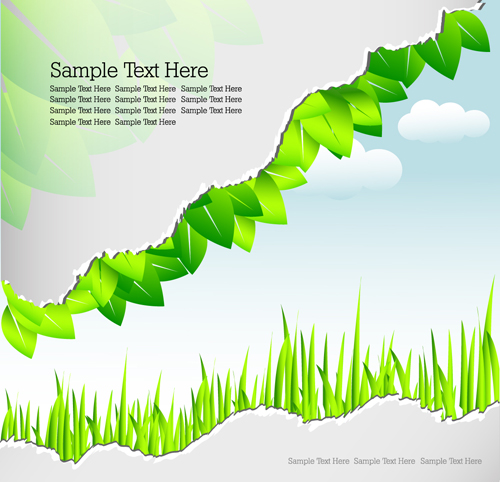Trend Green Leaf and Grass Banner