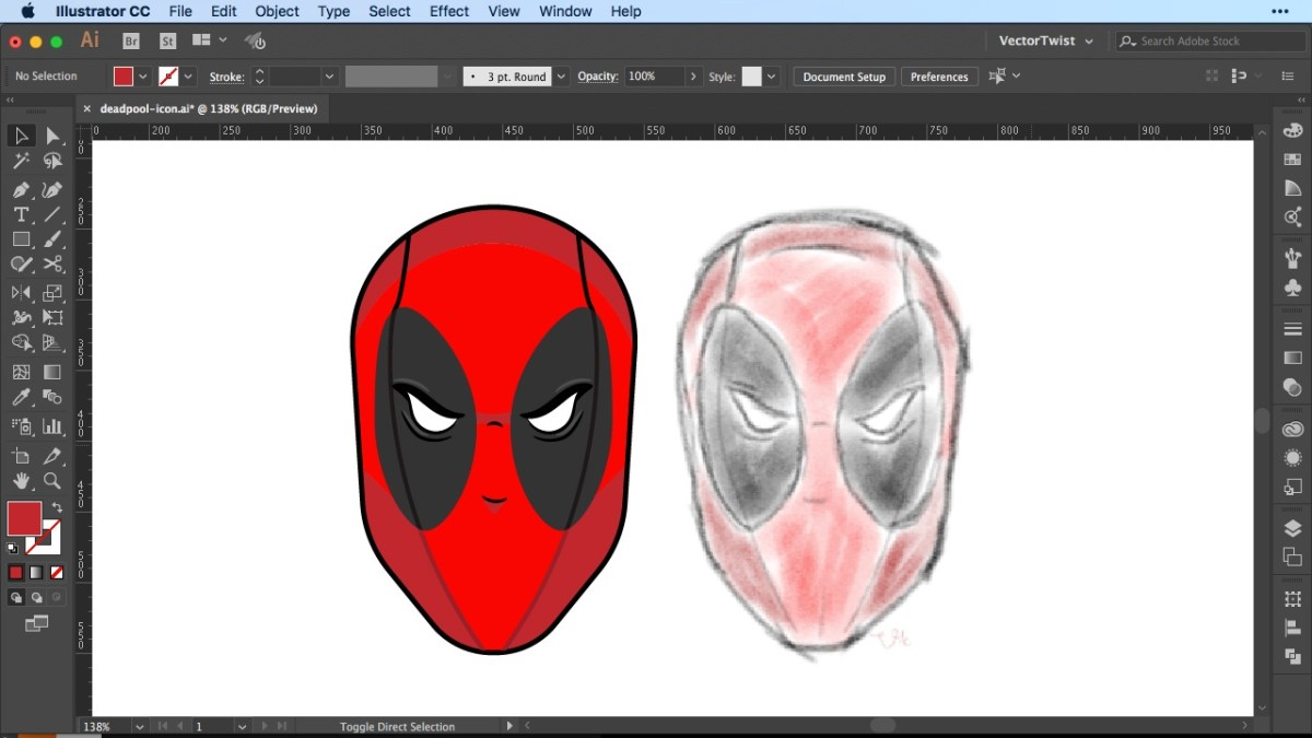 Icon Creation in Illustrator - How To Draw Deadpool