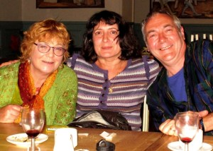 Anne Wareham, Clare Hoffman and Charles Hawes at thinkingardens supper