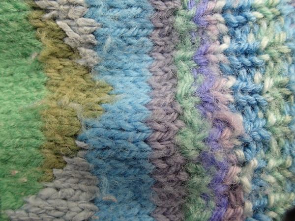 Kaffe Fasset inspired knitting Veddw, Copyright Anne Wareham,