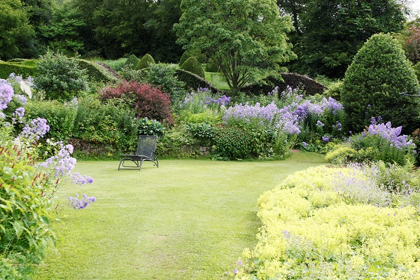 Veddw Crescent Border and lawn, July copyright Anne Wareham