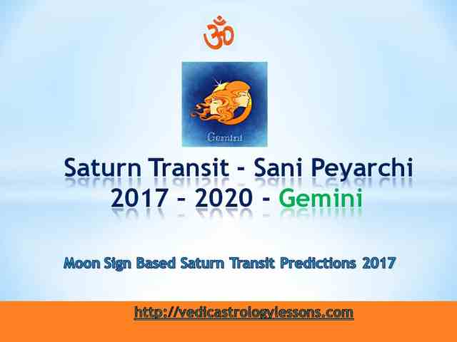 Satunr Transit 2017 - 2020 for Gemin Sign - Sani Peyarchi Plalangal 2017 for Mithuna Rasi