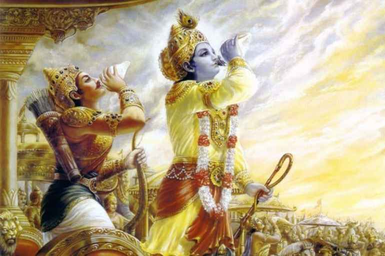 Krishna blowing conch