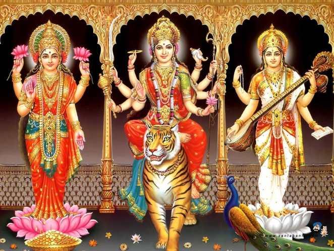 Goddess Lakshmi, Goddess Durga and Goddess Saraswati