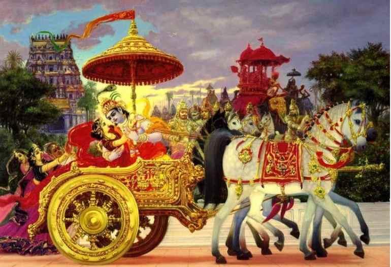 Krishna kidnaps Rukmini and rides away in his chariot