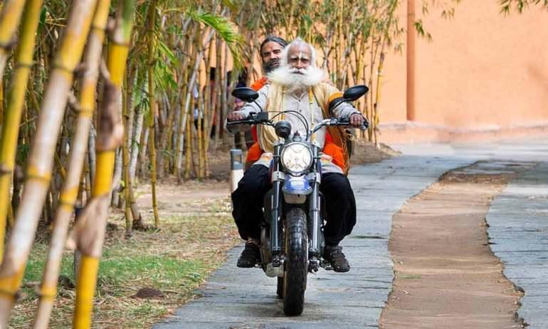Sadhguru on Motorcycle with Baba Ramdev