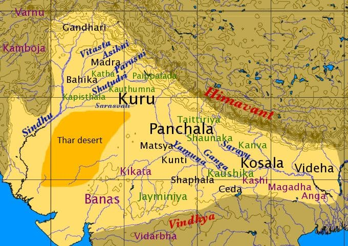 Ancient Mahabharata Places in Map
