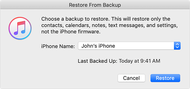 Choose and restore a backup on your iPhone