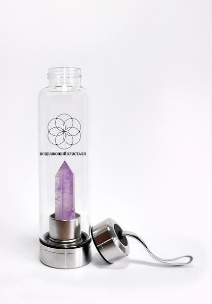 Исцеляющая Бутылка с кристаллом Аметист для воды