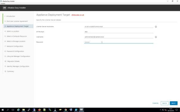 LCM Migration 4 Select deployment target vCenter
