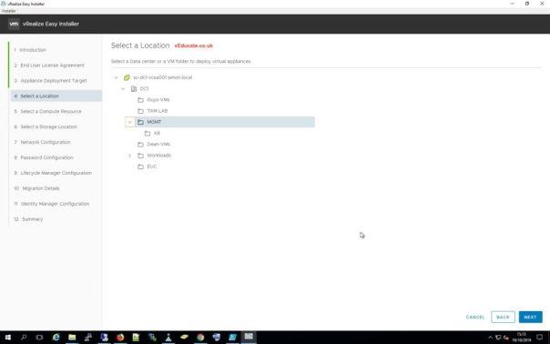 LCM Migration 6 Select datacenter or VM folder for virtual appliances