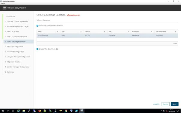 LCM Migration 8 Select storage location thin disk option