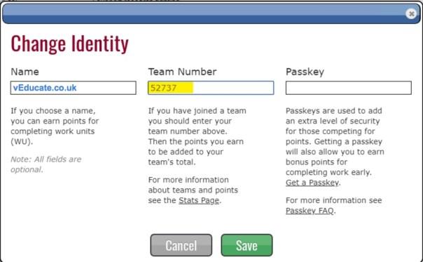 Foldingathome change identity team number