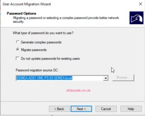 MIgrate users between a forests 5 Migrate passwords