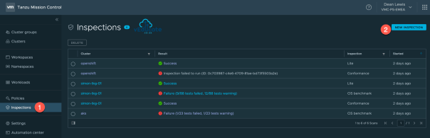 Tanzu Mission Control Openshift Cluster Inspections Navigation Page