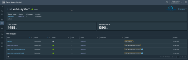 Tanzu Mission Control Openshift Cluster Namespaces Namespace view details