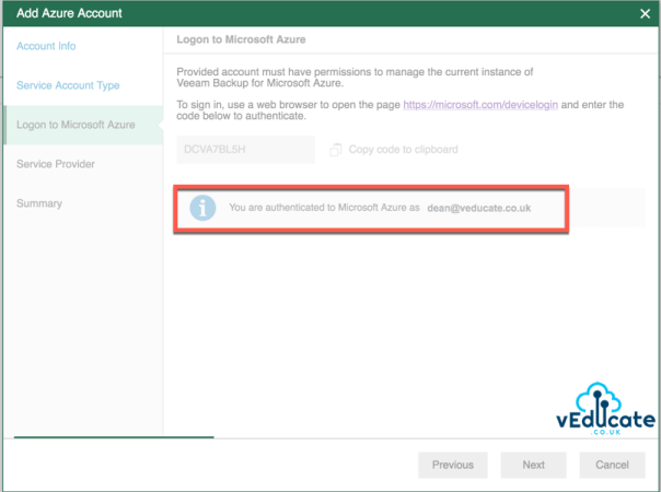 Veeam Azure Getting started Add Microsoft Azure Account Wizard Logon to Microsoft Azure You are authenticated to Microsoft Azure e1591461970596