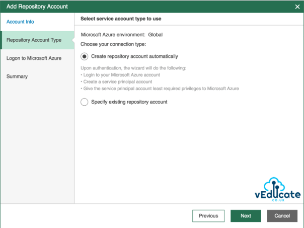 Veeam Azure Getting started Add Repository accounts Service Account Type