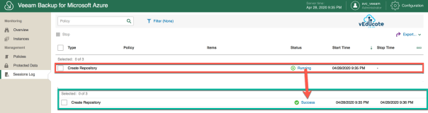 Veeam Azure Getting started Add Repository accounts Sessions Log Create Repository Complete