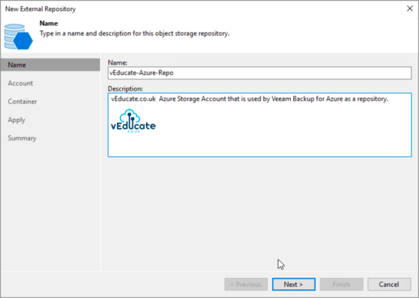 Veeam Backup for Azure Integration with Veeam Backup and Replication Add external repository New external repository