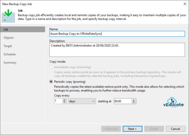 Veeam Backup for Azure Integration with Veeam Backup and Replication Backup Copy Azure IaaS New Job