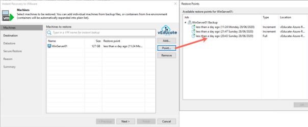 Veeam Backup for Azure Integration with Veeam Backup and Replication Instant VM Recovery Select Restore Point