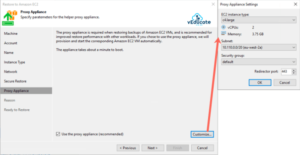 Veeam Backup for Azure Integration with Veeam Backup and Replication Restore to Amazon EC2 Proxy Appliance