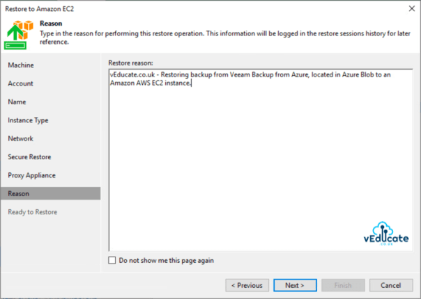 Veeam Backup for Azure Integration with Veeam Backup and Replication Restore to Amazon EC2 Restore Reason